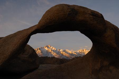 Arch View of Sierra Nevadas at Sunrise